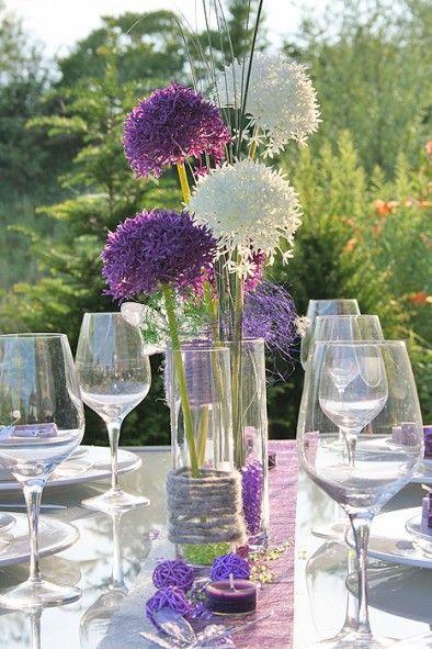 Tischdeko allium nur in Wei  Tischdeko  Blumendeko