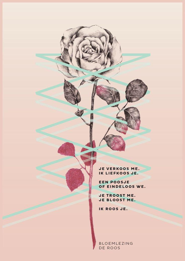 Bloemlezing de roos. Illustratie: Hyshil. Dichter: Kim Triesscheijn. http://www.mooiwatbloemendoen.nl/bloemlezing-de-roos #bloemlezing #bloemen #roos #rose #ode #flowers #poetry