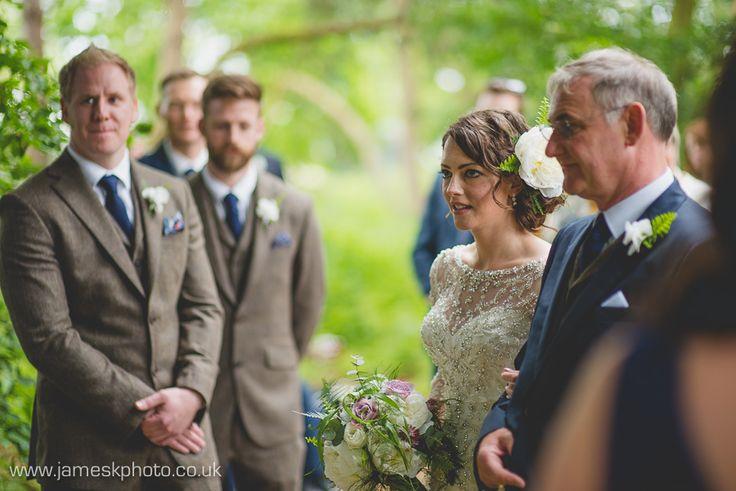 Bride & Groom. Bunting. Hush Venues Norfolk Outdoor Wedding Venue. Wedding in the woods. Norfolk Wedding Photographer. www.jameskphoto.co.uk