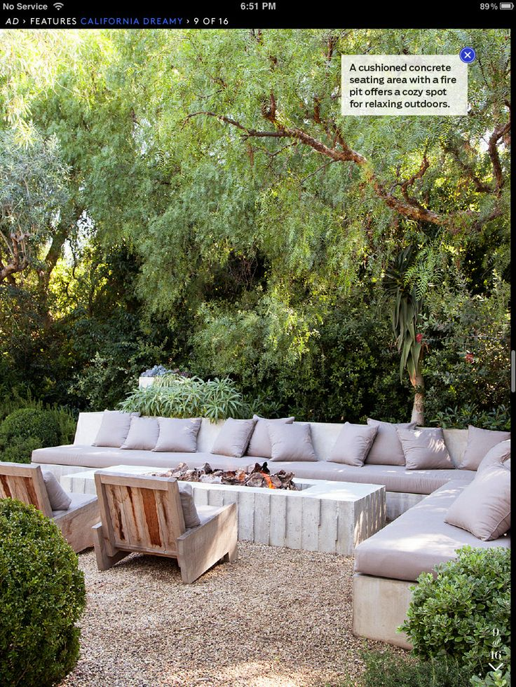 Patrick Dempsey's Malibu backyard - concrete lounge with cushions