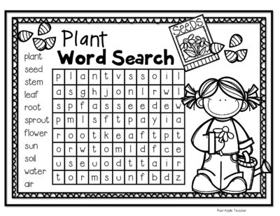 FREEBIE--Plant Word Search for K-2 from Red Apple Teacher on TeachersNotebook.com -  (2 pages)  - Plant themed word search for K-2