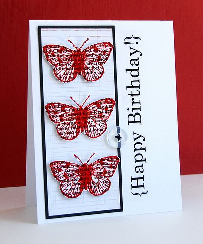 {Happy Birthday!}  Love the newsprint stamped butterflies   Beautiful!Handmade Birthday Cards, Cards Ideas, Cards Birthday, Black And White, Red Butterflies, Handmade Cards, Cards Butterflies, Happy Birthday Cards, Butterflies Cards
