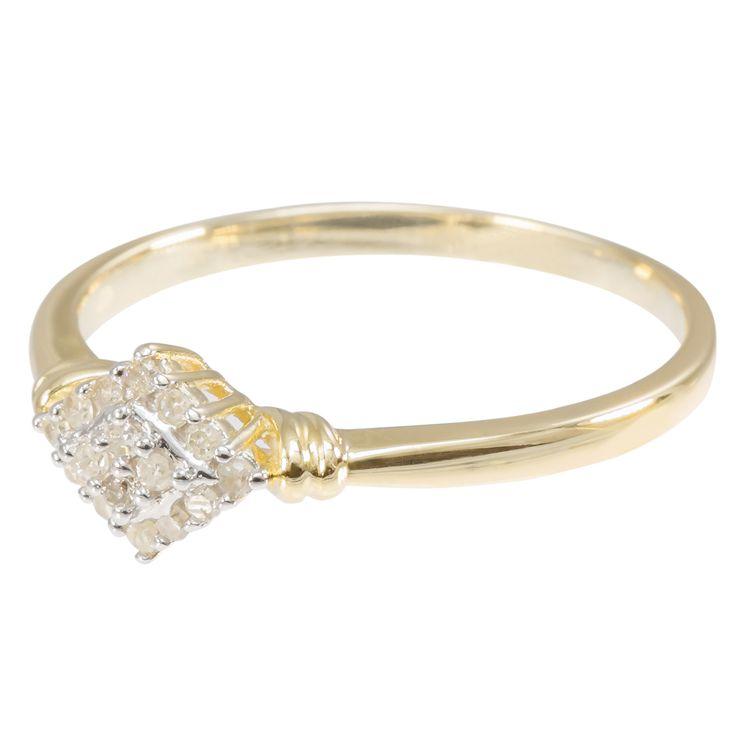 9ct White Gold Diamond Shaped Diamond Cluster Ring $142 - purejewels.com.au