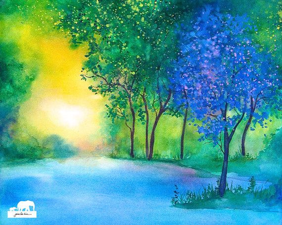 Watercolor Art Print. Periwinkle tree pond with by GinaLeeKim