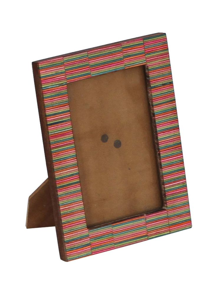 Bulk Wholesale Handmade Wooden Rectangular Shaped Photo Frame / Stand with Colorful Striped Pattern on the Borders – Tabletop Accessories – Home Décor