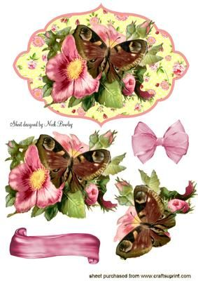 PRETTY FLORAL FRAME WITH FLOWER BUTTERFLY on Craftsuprint - Add To Basket!