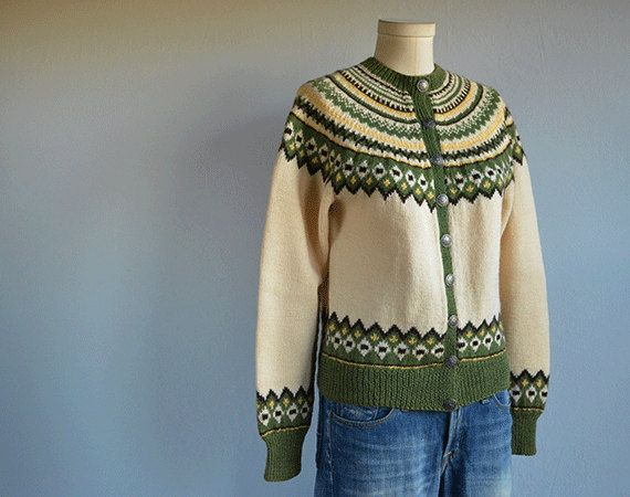 Vintage Norwegian Cardigan / 60s Hand Knit Wool Nordic Fair Isle Patterned Sweater Cream Green Yellow / Made in Norway
