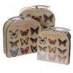 Lot de 3 Boîtes déco avec poignée - Design Papillons