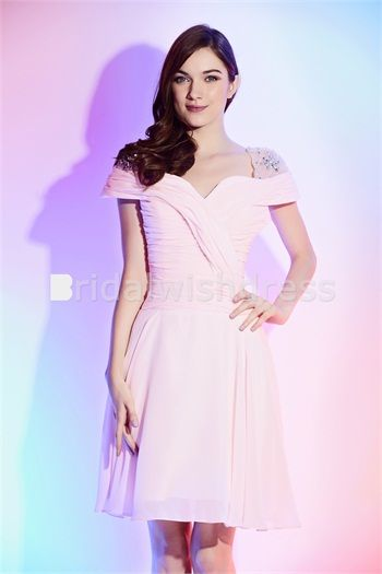 Pink Beading Chiffon/Silk Like Satin Criss Cross Cocktail/Homecoming Dress made for U only US$ 87.99