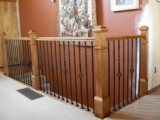 banister newel with rod iron
