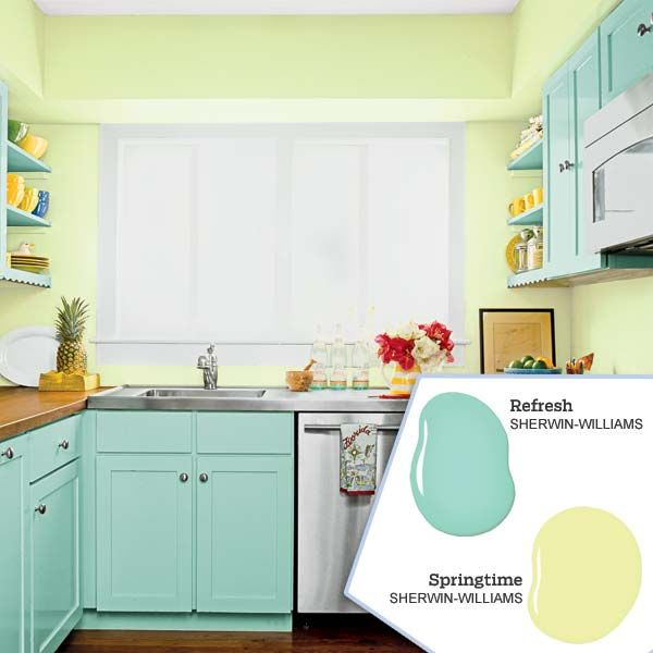 Soft, optimistic shades of blue and green bring the outdoors in and are equally at home in a seaside setting, a vintage cottage or amid retro furnishings. | Photo: Tria Giovan; (paint dabs) Brian Henn/Time Inc. Digital Studio | thisoldhouse.com