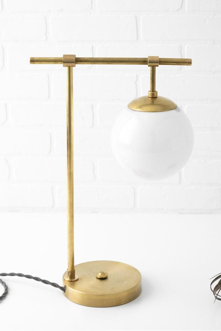 Mid Century Modern White Globe Lamp Table Lamp Touch Lamp Unfinished Brass Lamp Mid Century Lighting