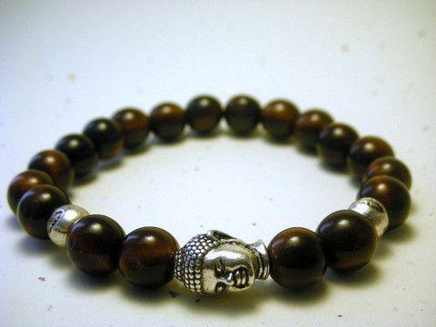 Buddha head mala bracelet- silver brown- stackable vegetable ivory, organic, ecofriendly bracelet – Mayoso