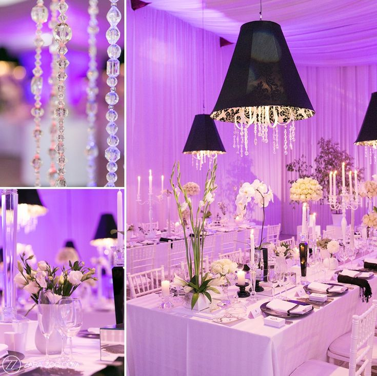 Lampshades and candles used on the tables and purple uplighting on the white draping to create a fantasy look.
