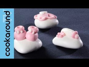 ▶ Confetti decorati con pasta di zucchero per il battesimo - YouTube