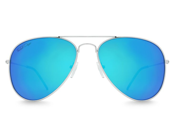 """Our newest line of Aviator sunglasses stay true to that classic, instantly recognizable """"Aviator"""" look. Featuring a highly polished metal frame and cool ice blue UV400 protection lenses, this style is a must for any sunglasses collection."""