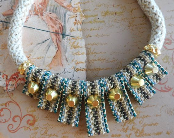 Statement necklace with cotton woven cords and by MCKbyMarieKC, €24.99
