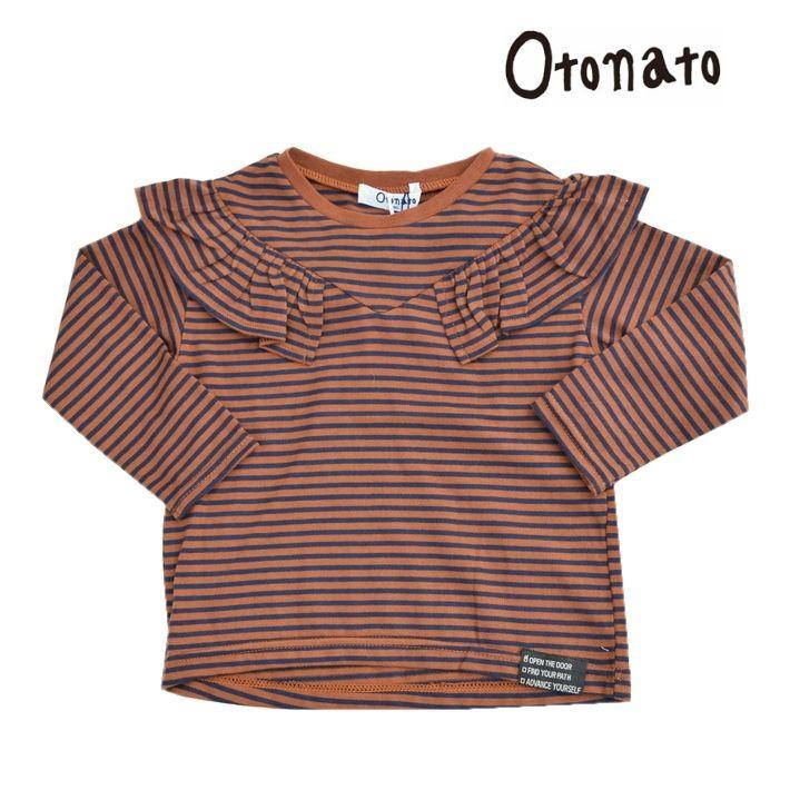 【メール便対応商品】Otonato オトナト フリルボーダー長袖Tシャツ E406037 90-140cm 女の子 トップス Tシャツ ロンT シンプル ボーダー フリル ナチュラル系でかわいいブランド子供服の通販 Clair クレール