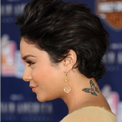 Celebrities with Tattoos: Vanessa Hudgens  celebrity tattoos | butterfly tattoo | neck tattoo | high school musical tattoo | tattoo ideas | tattoo inspiration | celebrity ink