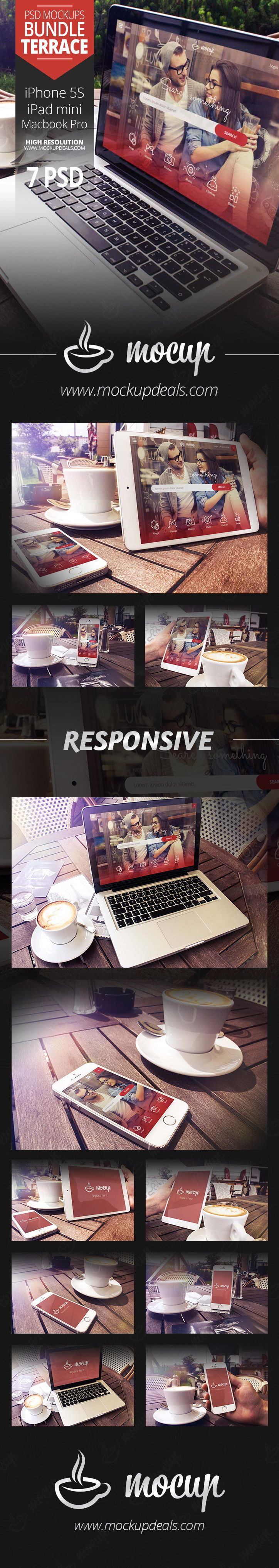 A photorealistic PSD devices (iPhone 5S, iPad mini, Macbook Pro) mockups set to present your responsive website or application design.