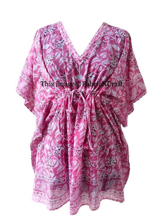Beach Dress Pure Cotton Beach Caftan India Kaftan Indian Hand Block Printed Long Kaftan Floral Print Beach Cover-up One Size Kaftan