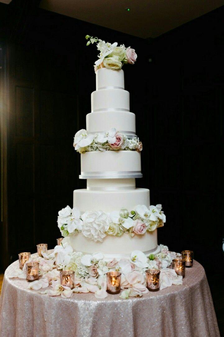 Ivory Rose Gold Large Wedding Cake
