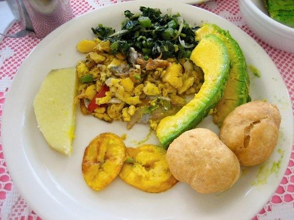 Jamaican Breakfast  - Ackee salt-fish, Plantain,Yellow yam,Pear,fried dumpling,Callaloo.