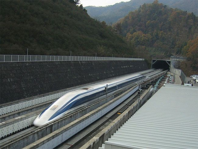 311 mph Maglev train prototype in Japan.  I will ride this someday.  It builds on the technology used in the super-fast Shinkansen Bullet Train.  Maximum speed reached:  361 miles per hour.  That's Seattle to my home town in Montana in about two hours.  Faster than flying, when one considers acceleration / deceleration of an airplane.  Oh---and considerably more legroom!