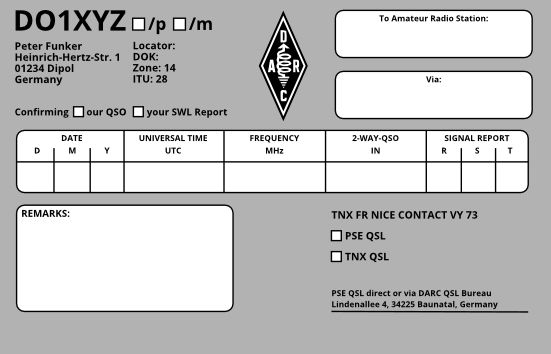 Free Qsl Card Template In 2021 Card Template Templates Cards
