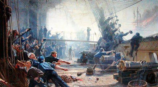 Batalla de Heligoland, en 1864,. El barco que se ve en llamas es el Schwarzenberg de Tegethoff. A bordo de la fragata Niels Juel (danesa, de hélice, 42 cañones)- Heligoland 9 mayo 1864. Más en www.elgrancapitan.org/foro