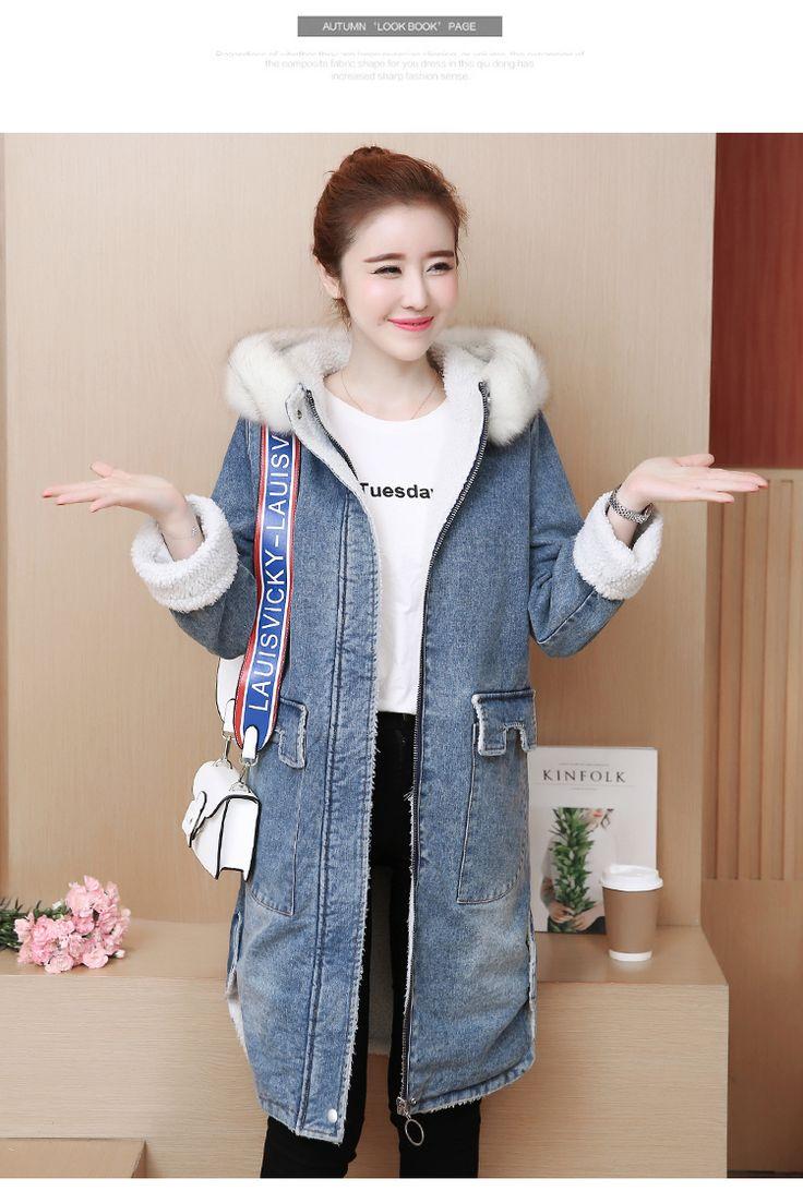 2017冬季羊羔毛绒牛仔外套女中长款棉袄韩版宽松暖和棉衣加厚棉服-淘宝网