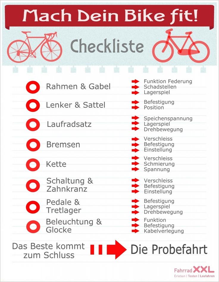 Unsere Checkliste fürs Frühjahr. Abhaken und durchstarten! #Infografik #Bike #Fahrrad