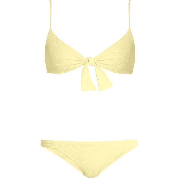 Melissa Odabash Roma piqué bralette bikini (£186) ❤ liked on Polyvore featuring swimwear, bikinis, bikini, yellow, bikini swim wear, low rise bikini, triangle swim wear, melissa odabash swimwear and triangle bikinis