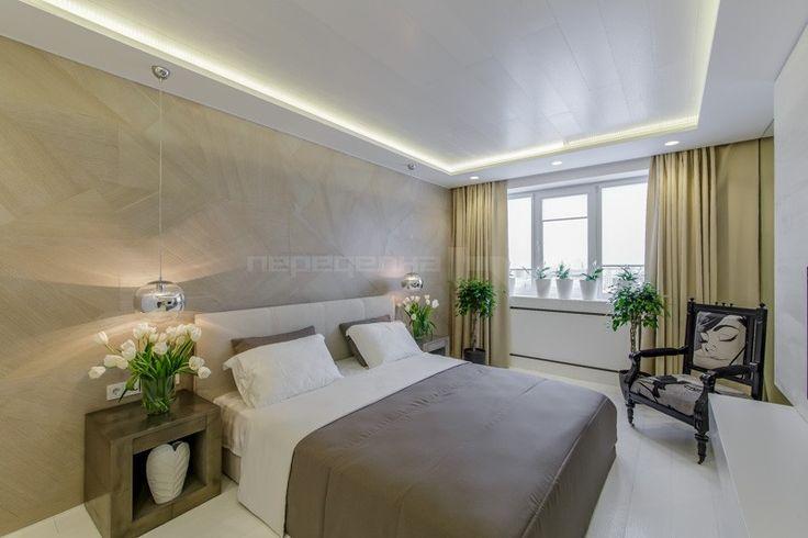 Спальня в золотистом бетоне