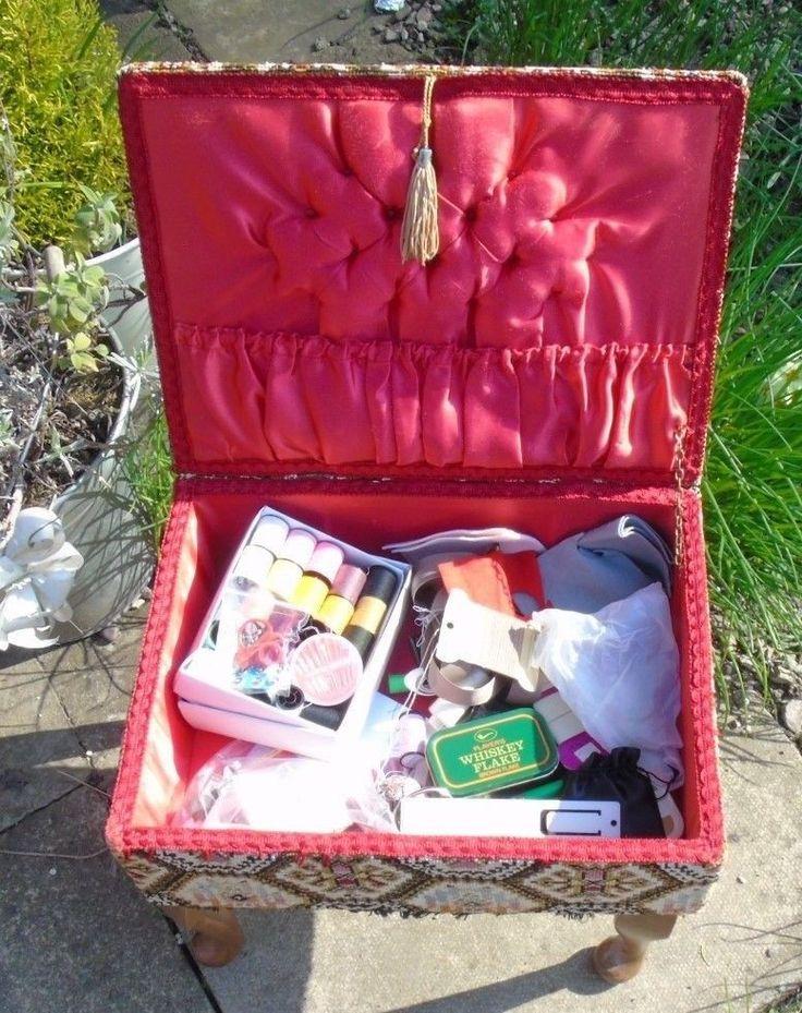 SEWING BOX FOOT STOOL SEAT TABLE + CONTENTS - NEEDLES THREAD COTTON SCISSORS ETC   eBay