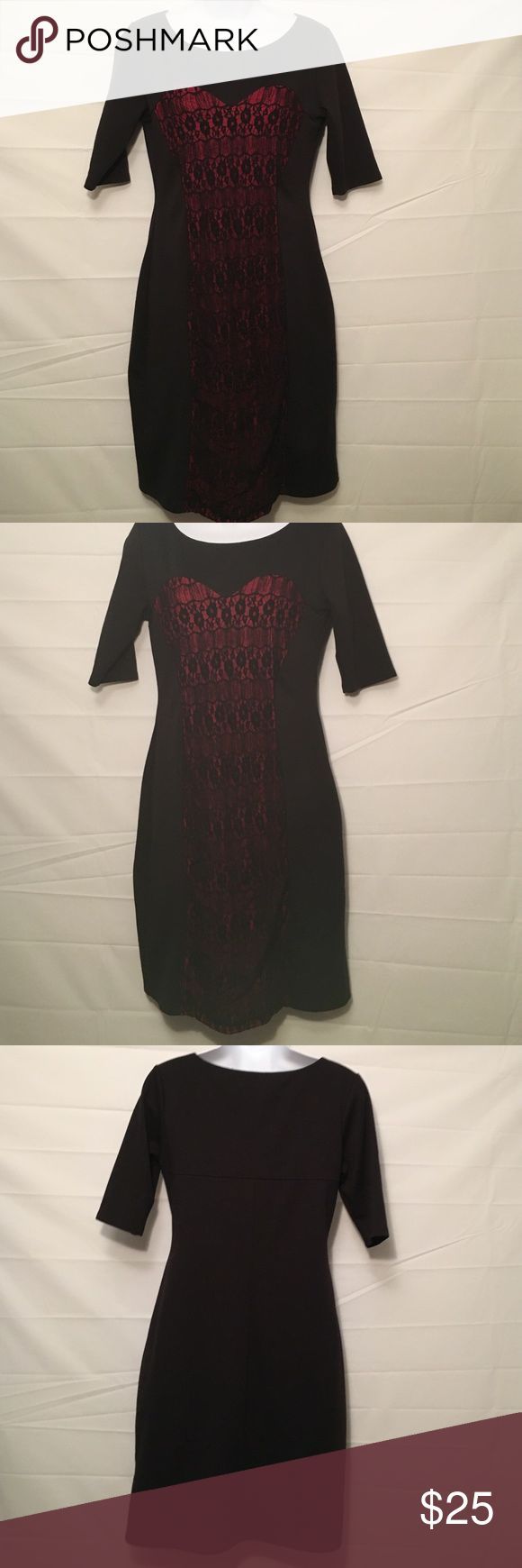 """Tiana B sz Small Gorgeous Black Lace Dress Tiana B size small just gorgeous black dress with lace and pink underneath ....35"""" top to bottom ..... BUNDLE 4 or More SAVE 30%!! Tiana B Dresses Midi"""