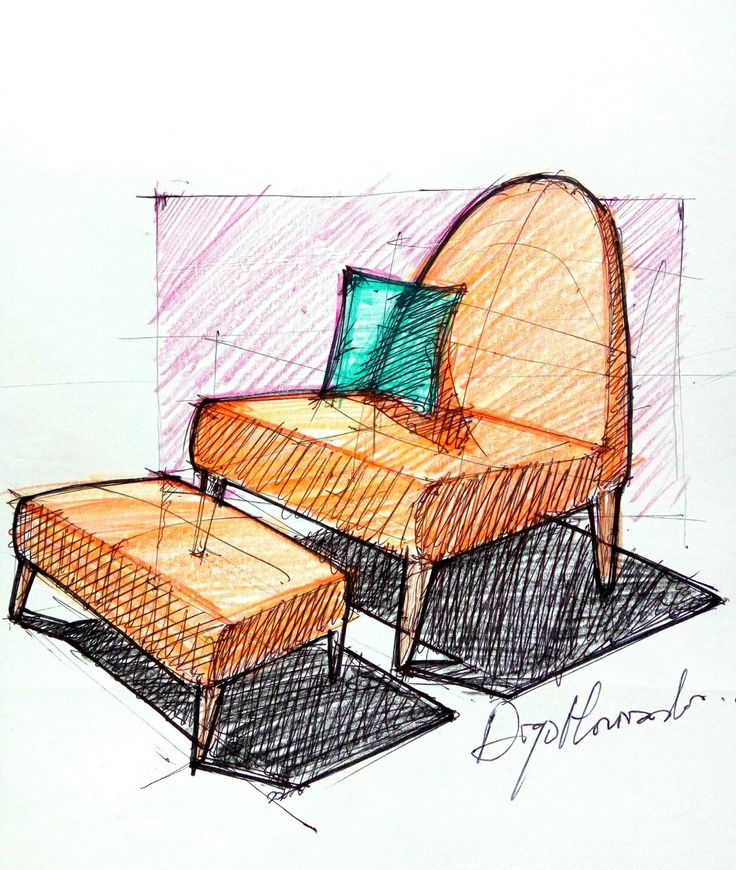 Lounge Chair and Ottoman sketch study furniture designed by me