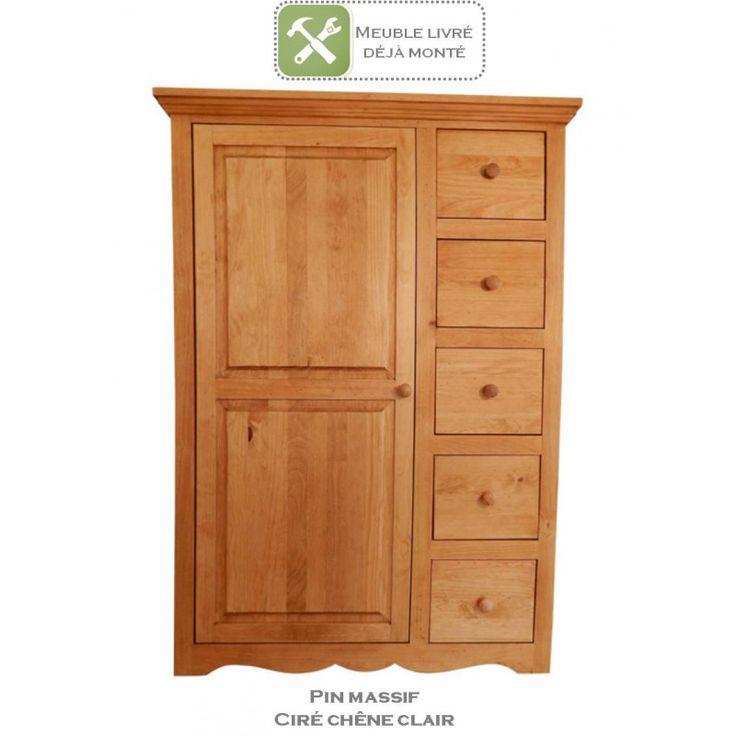 Farinier en pin massif au style authentique et indémodable. Pratique grâce à ses 5 tiroirs et sa porte avec 3 tablettes. Idéal cuisine