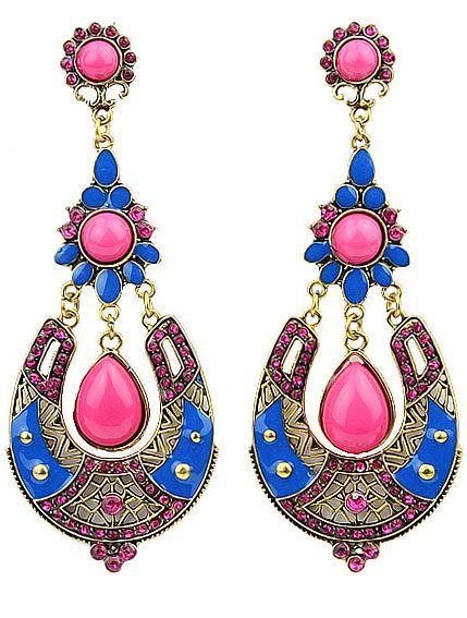 Red Drop Gemstone Gold Earrings 7.48