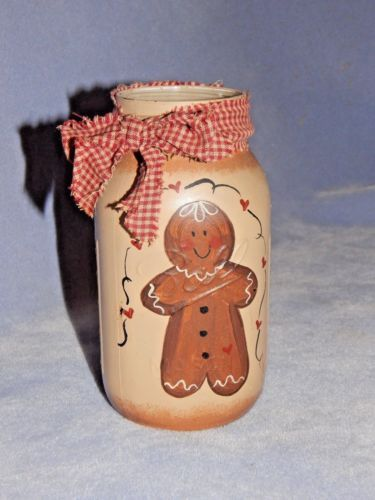 Genuine-Ball-Mason-Jar-62-17-Hand-Painted-Ginger-Bread-Man-with-Gingham-Ribbon