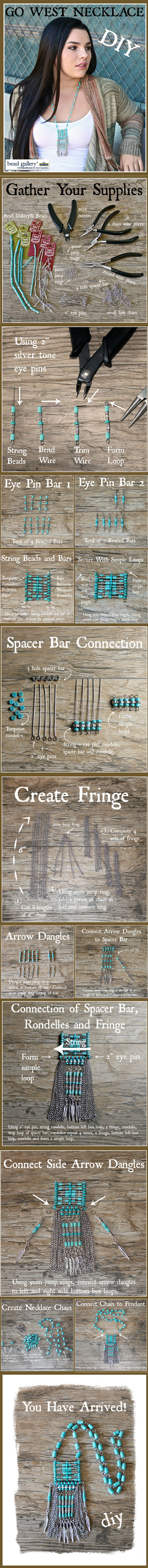 Make your own Go West Necklace to coordinate with your favorite sweater and jeans fall outfit!