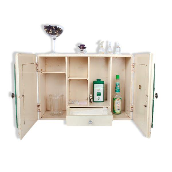 Ancienne armoire de toilette en bois, à pharmacie, Marque CÉMIGNON St Ouen (Seine) - bois (Matériau) - blanc - vintage - 94676