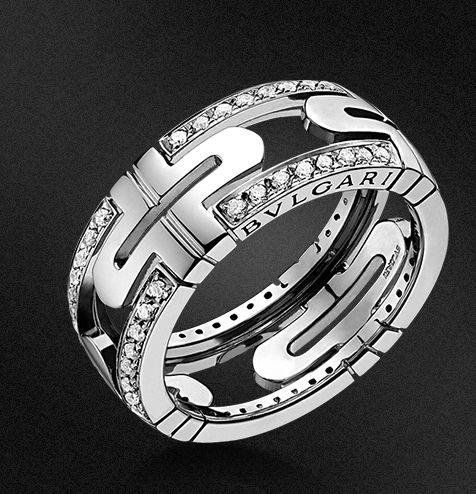 bvlgari parentesi small 18 kt white gold ring with demi pav diamonds
