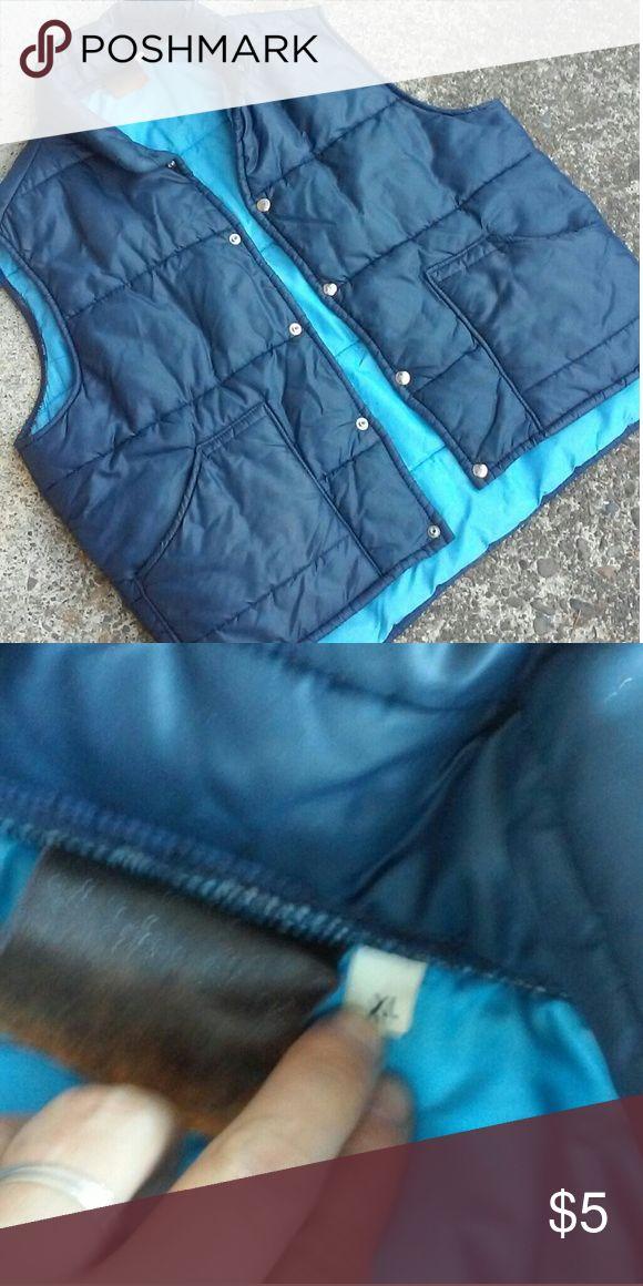Mens Puffy Blue Vest XL Mens Puffy Vest Vintage XL Jackets & Coats Vests