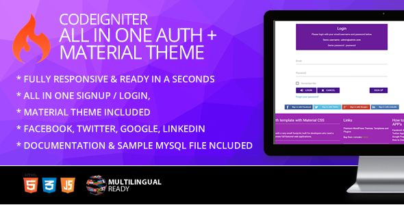 Codeigniter Ion Auth Template With Materialize Theme Material