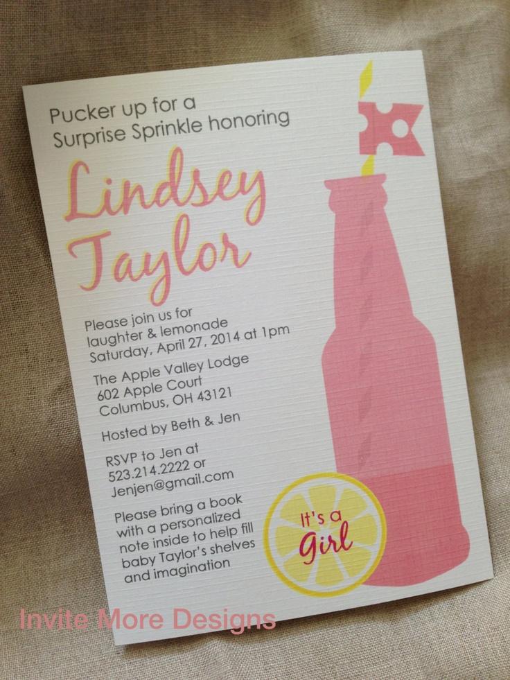 Pink Lemonade Invitation - Pink Lemonade Baby Shower- Pink Lemonade Sprinkle- Shabby Chic Invitation. $2.00, via Etsy.