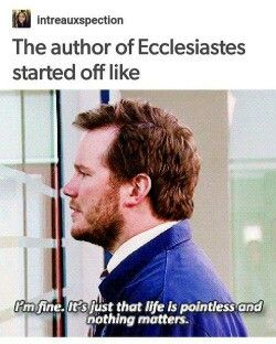 We read Ecclesiastes 1 youth group a few weeks ago and this meme kept running through my mind.
