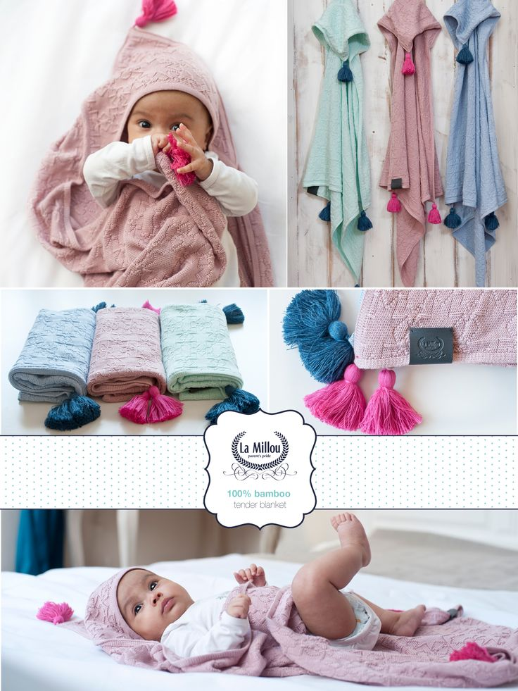 New 100 % bamboo knitted with hood and fringed – especially recommended for sensitive skin. All coloures avaible here: peekabooshop.uk/?s=tender&post_type=product #baby #care #room #organic #bamboo #eco #parenting #allergic