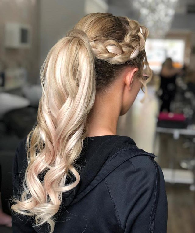 Curled Ponytail And Dutch Braid Using Glam Seamless Light Ash