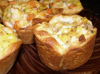 Cheesy Chicken pot pie cups; biscuts, chicken, crm chicken soup, cheese, mixed